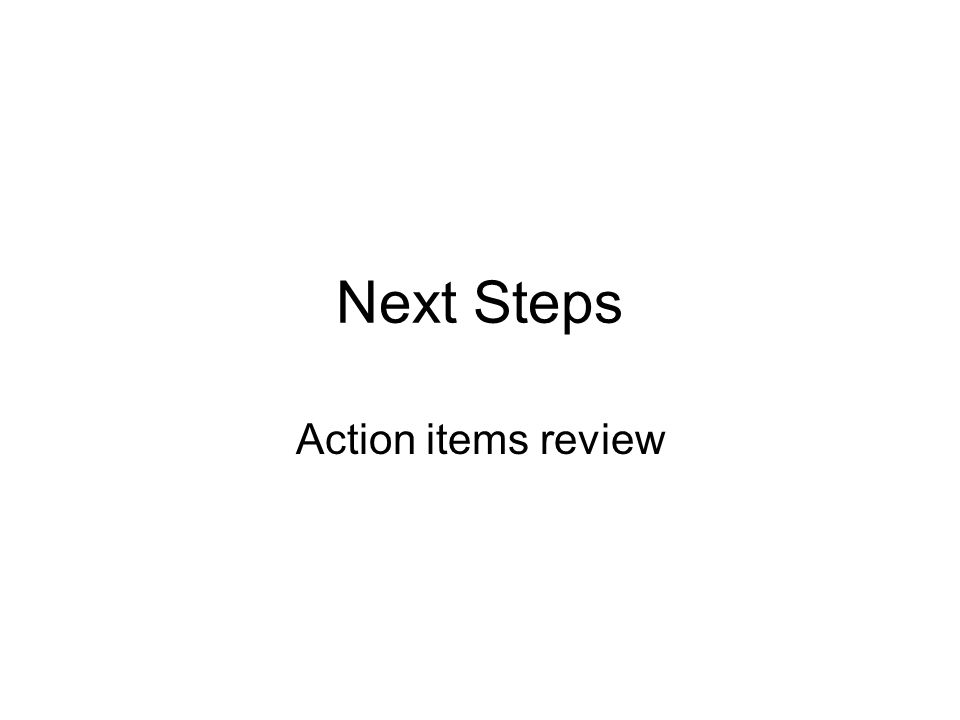 Next Steps Action items review
