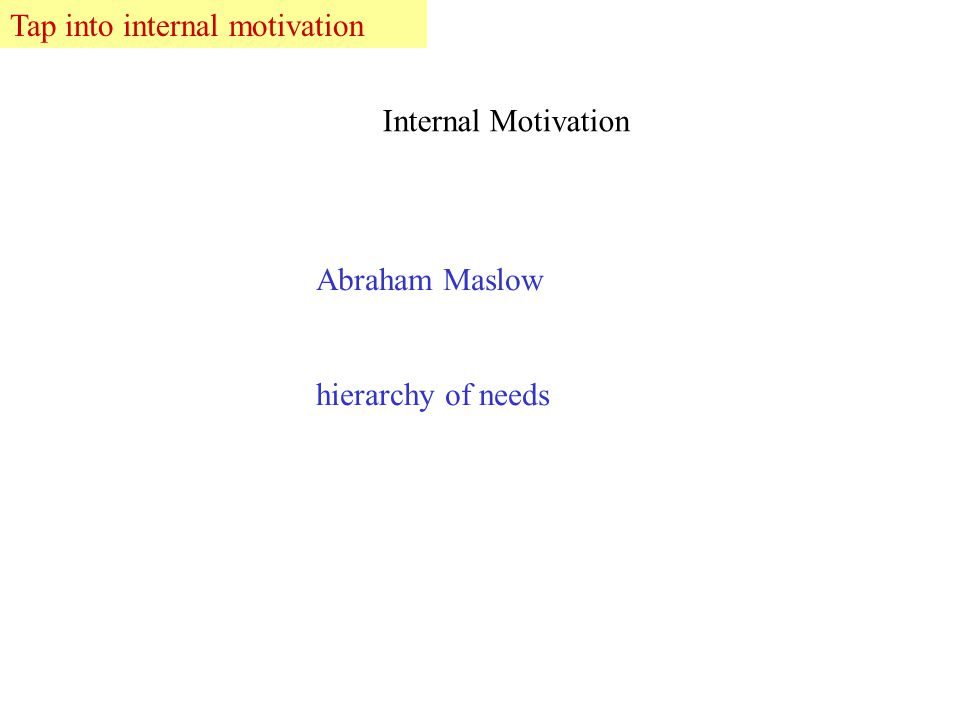 Abraham Maslow hierarchy of needs Internal Motivation Tap into internal motivation