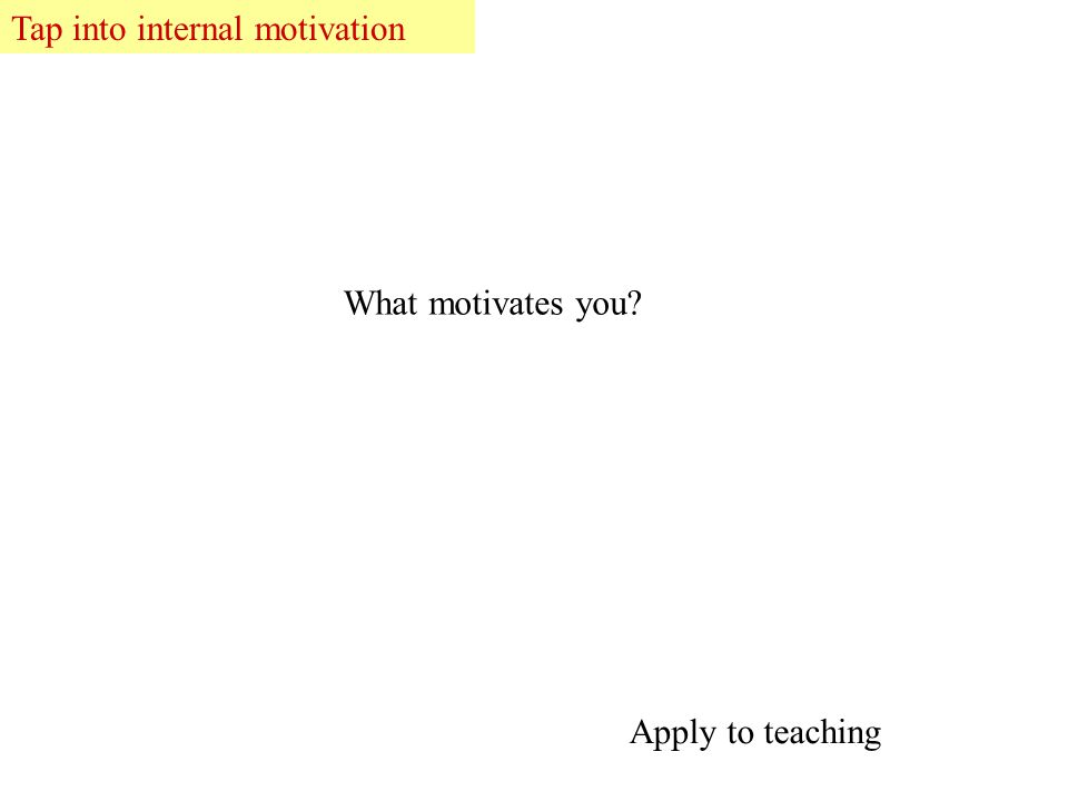 Tap into internal motivation What motivates you Apply to teaching