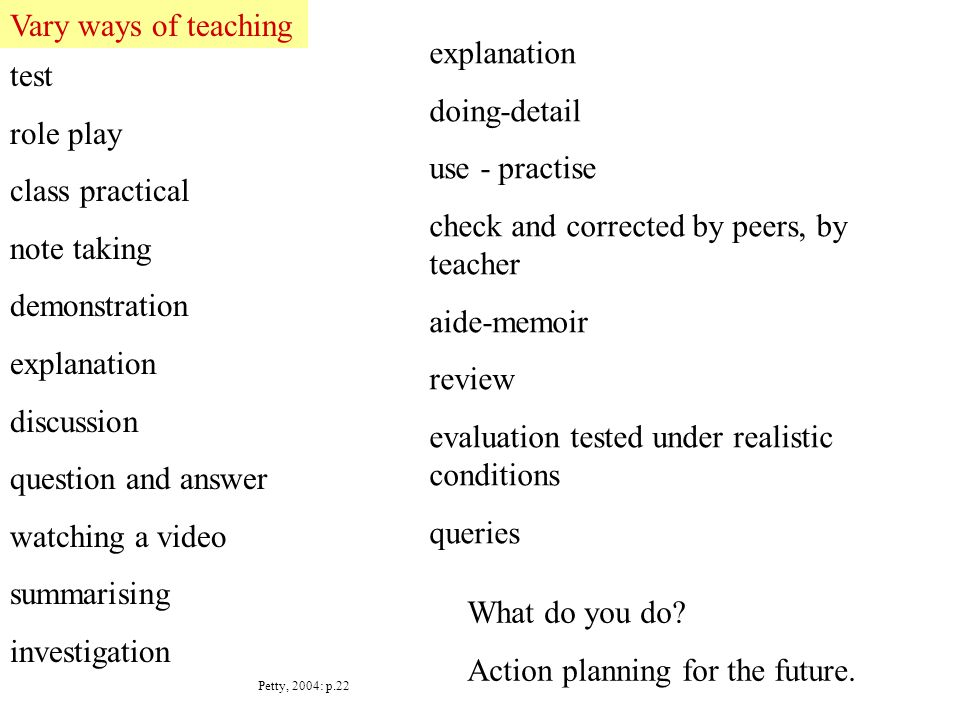 test role play class practical note taking demonstration explanation discussion question and answer watching a video summarising investigation Petty, 2004: p.22 Vary ways of teaching What do you do.