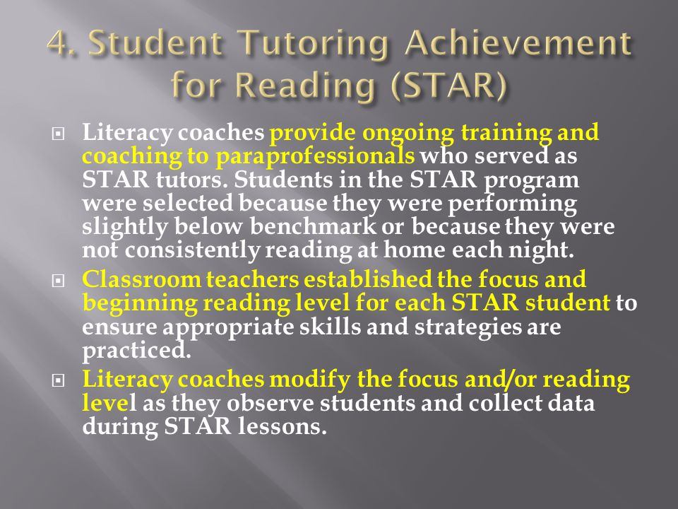  Literacy coaches provide ongoing training and coaching to paraprofessionals who served as STAR tutors.