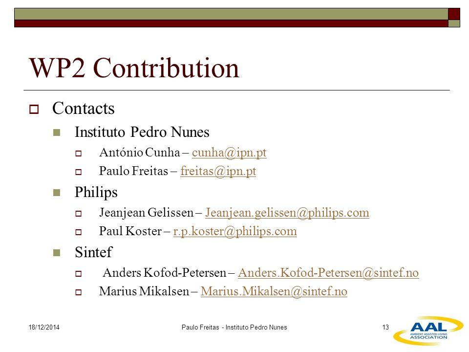 18/12/2014Paulo Freitas - Instituto Pedro Nunes13 WP2 Contribution  Contacts Instituto Pedro Nunes  António Cunha – cunha@ipn.ptcunha@ipn.pt  Paulo