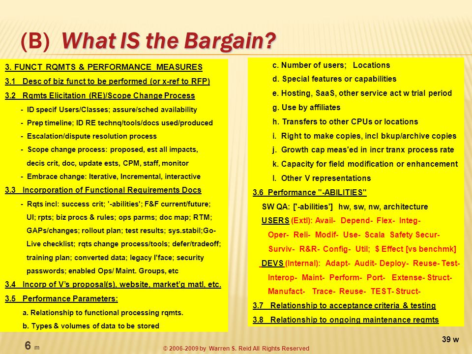 What IS the Bargain. (B) What IS the Bargain. c.