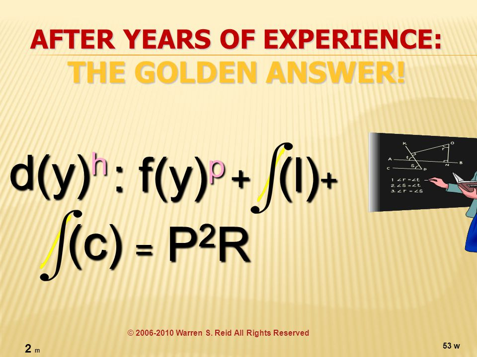 AFTER YEARS OF EXPERIENCE: THE GOLDEN ANSWER. d(y)h : f(y) p (c) = P2R © 2006-2010 Warren S.