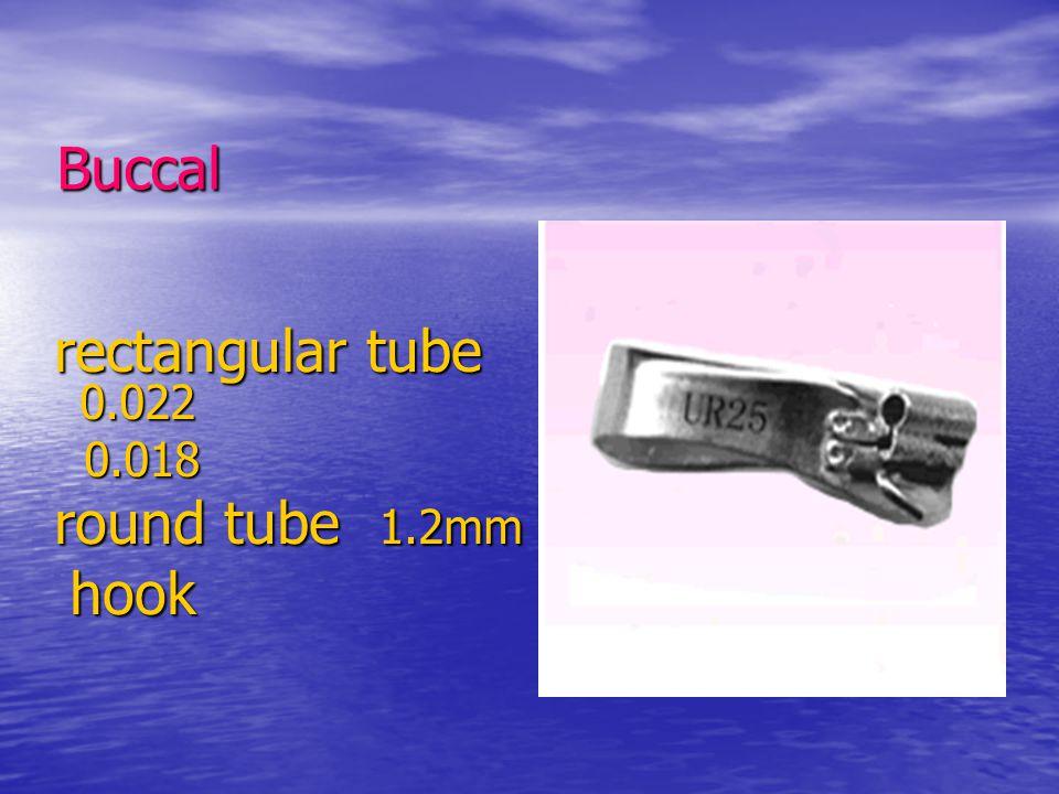 Buccal rectangular tube 0.022 rectangular tube 0.022 0.018 0.018 round tube 1.2mm round tube 1.2mm hook hook