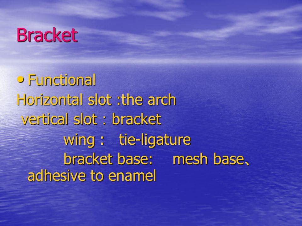 Bracket Functional Functional Horizontal slot :the arch vertical slot : bracket vertical slot : bracket wing : tie-ligature wing : tie-ligature bracket base: mesh base 、 adhesive to enamel bracket base: mesh base 、 adhesive to enamel