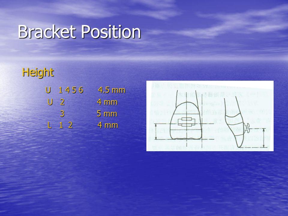 Bracket Position Height Height U 1 4 5 6 4.5 mm U 1 4 5 6 4.5 mm U 2 4 mm U 2 4 mm 3 5 mm 3 5 mm L 1 2 4 mm L 1 2 4 mm