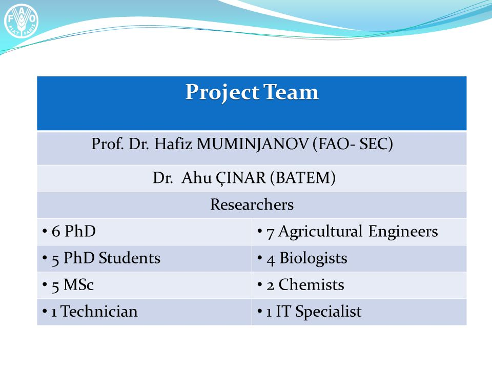 Project Team Prof. Dr. Hafiz MUMINJANOV (FAO- SEC) Dr. Ahu ÇINAR (BATEM) Researchers 6 PhD 7 Agricultural Engineers 5 PhD Students 4 Biologists 5 MSc