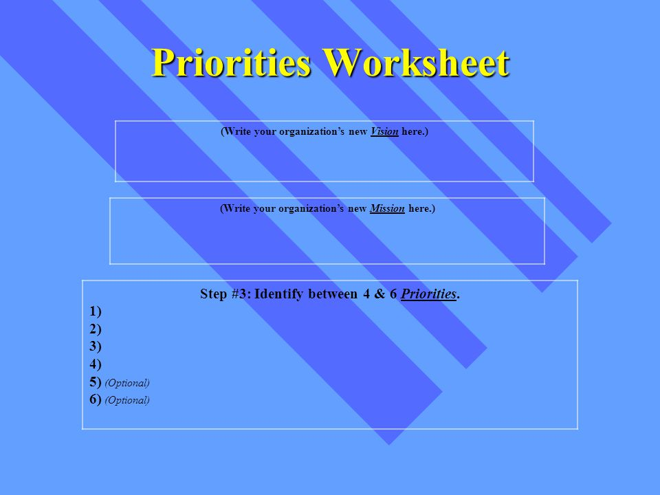 Priorities Worksheet Step #3: Identify between 4 & 6 Priorities.