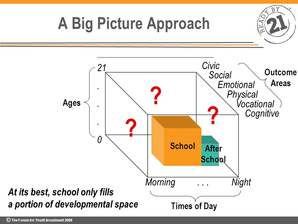 © The Forum for Youth Investment 2008 A Big Picture Approach Civic Social Emotional Physical Vocational Cognitive Ages Times of Day Outcome Areas .