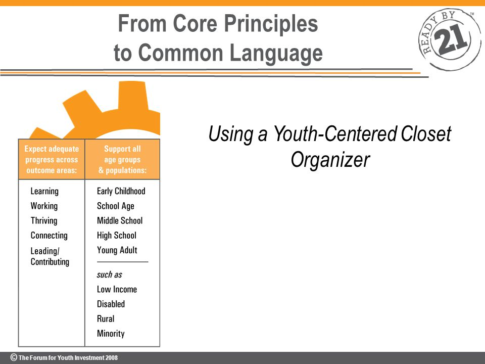 © The Forum for Youth Investment 2008 From Core Principles to Common Language Using a Youth-Centered Closet Organizer