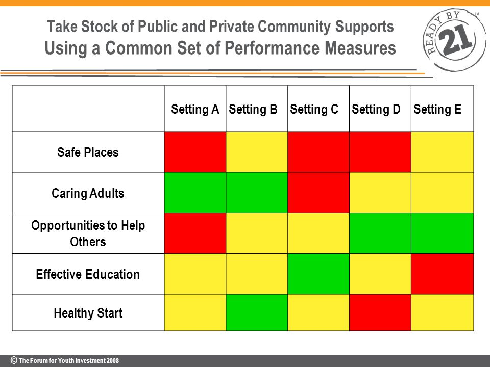 © The Forum for Youth Investment 2008 Take Stock of Public and Private Community Supports Using a Common Set of Performance Measures Setting ASetting BSetting CSetting DSetting E Safe Places Caring Adults Opportunities to Help Others Effective Education Healthy Start