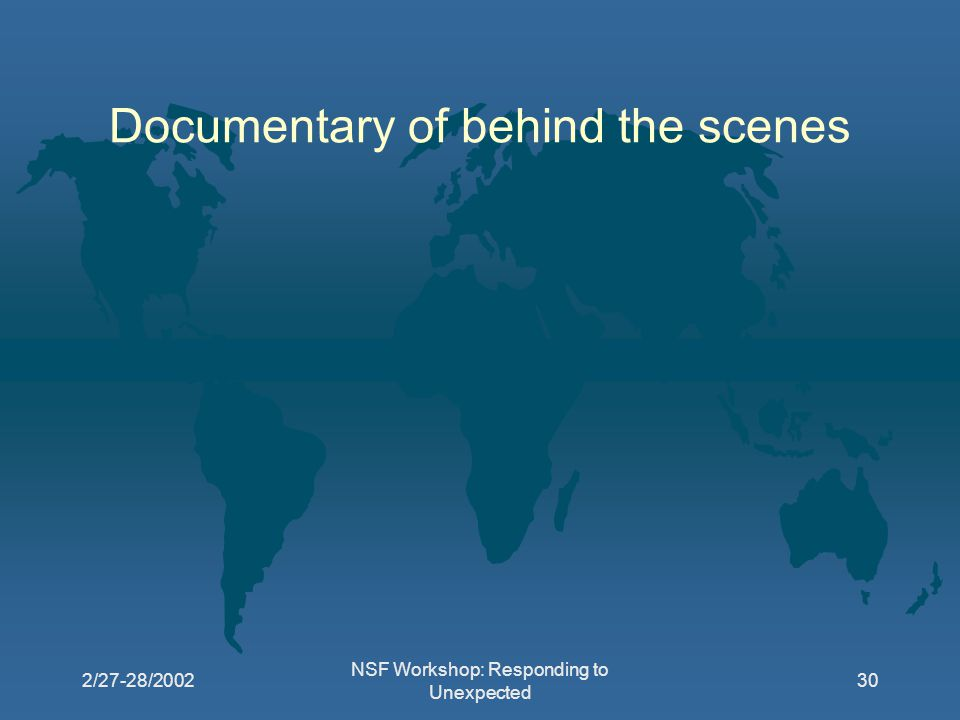 2/27-28/2002 NSF Workshop: Responding to Unexpected 30 Documentary of behind the scenes
