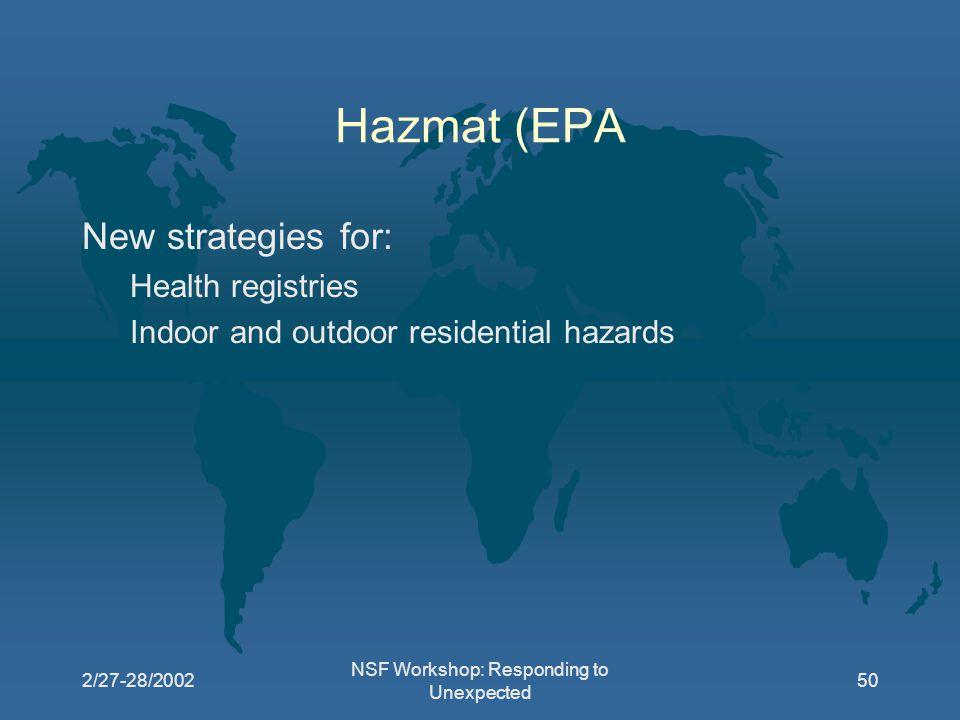 2/27-28/2002 NSF Workshop: Responding to Unexpected 50 Hazmat (EPA New strategies for: Health registries Indoor and outdoor residential hazards