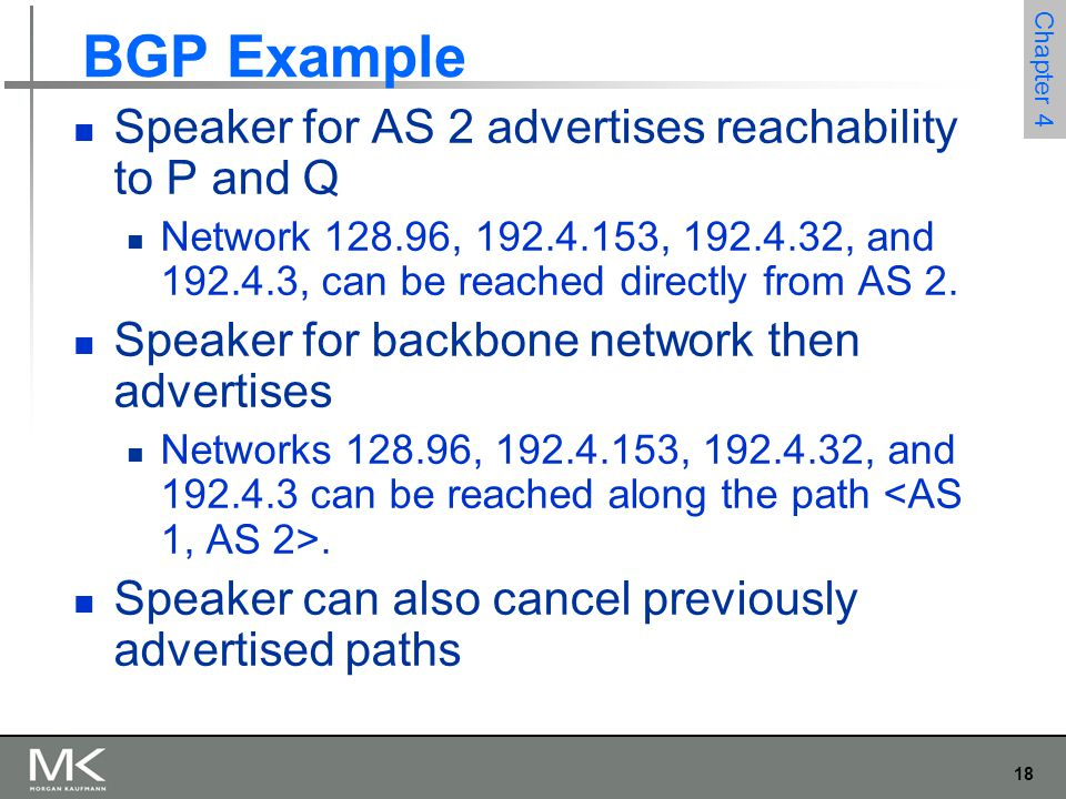 18 Chapter 4 BGP Example Speaker for AS 2 advertises reachability to P and Q Network 128.96, 192.4.153, 192.4.32, and 192.4.3, can be reached directly