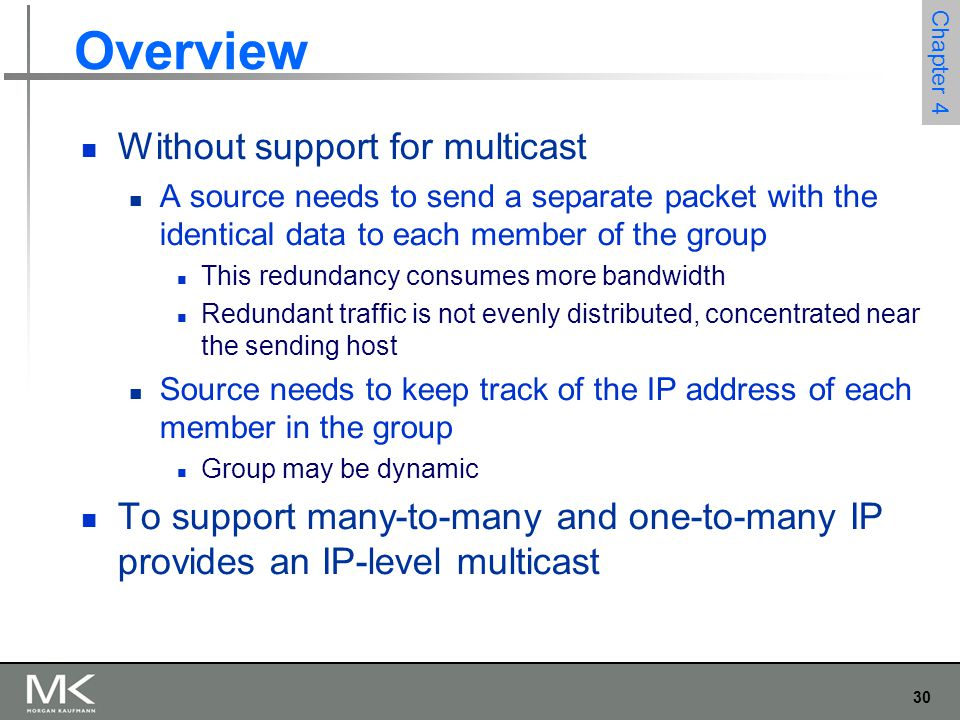 30 Chapter 4 Overview Without support for multicast A source needs to send a separate packet with the identical data to each member of the group This