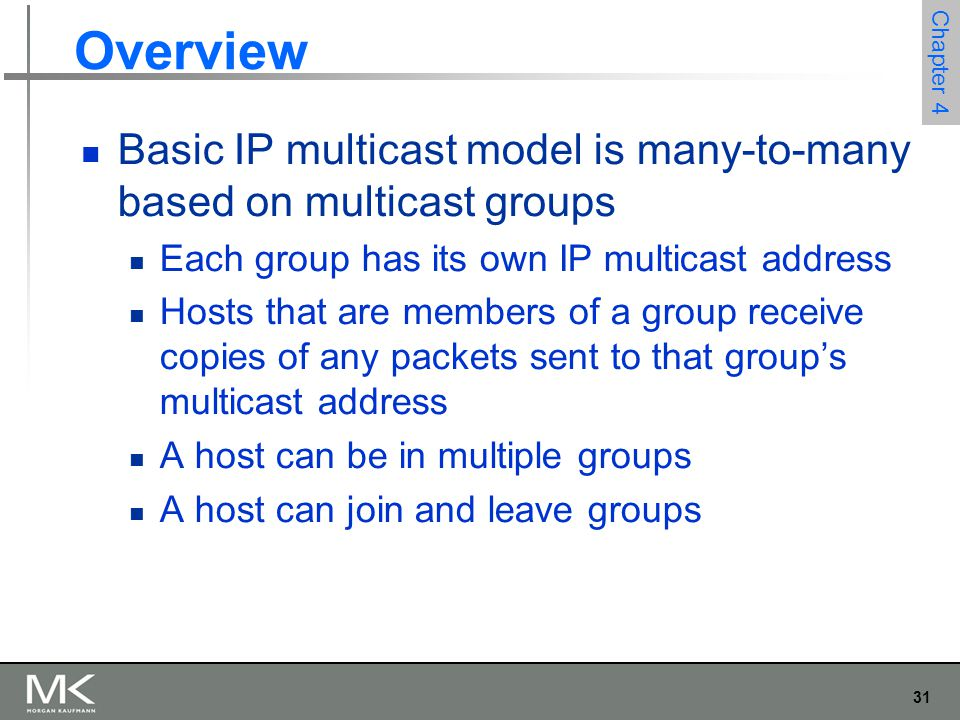 31 Chapter 4 Overview Basic IP multicast model is many-to-many based on multicast groups Each group has its own IP multicast address Hosts that are me