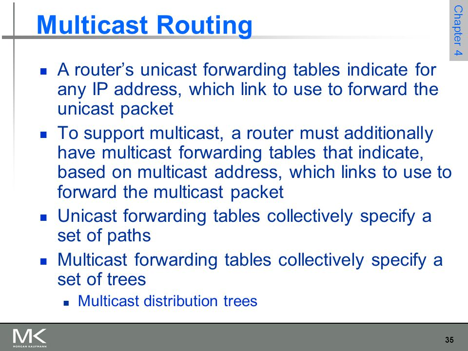 35 Chapter 4 Multicast Routing A router's unicast forwarding tables indicate for any IP address, which link to use to forward the unicast packet To su