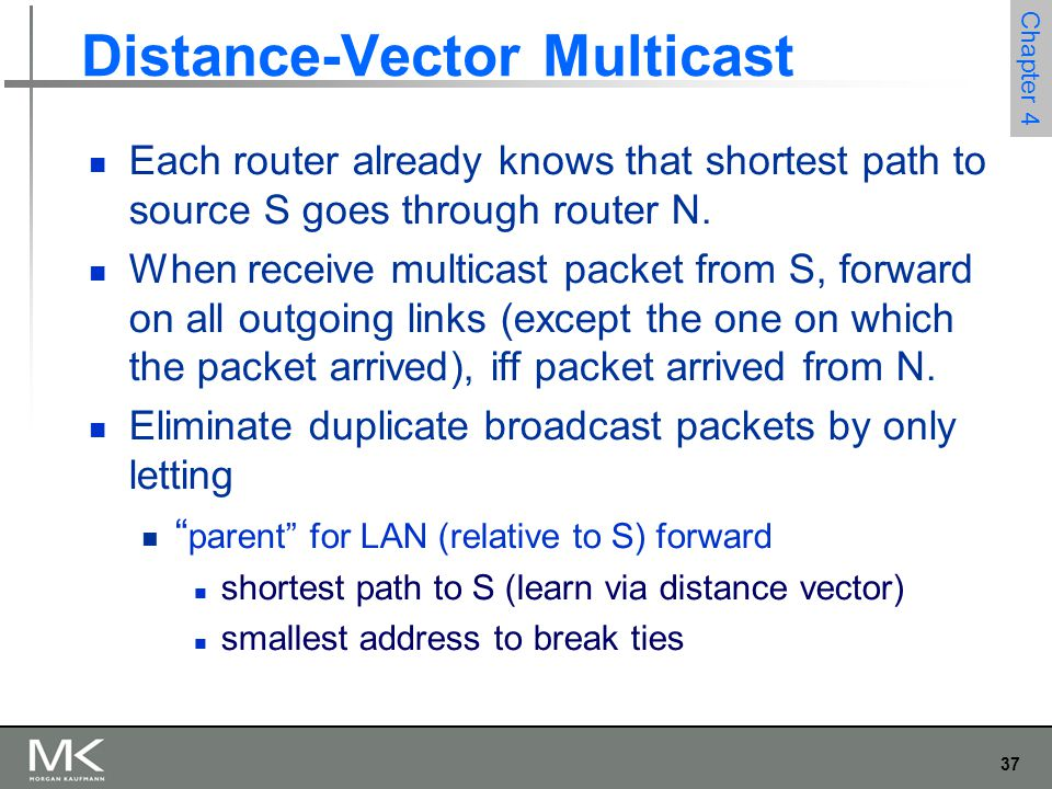 37 Chapter 4 Distance-Vector Multicast Each router already knows that shortest path to source S goes through router N. When receive multicast packet f