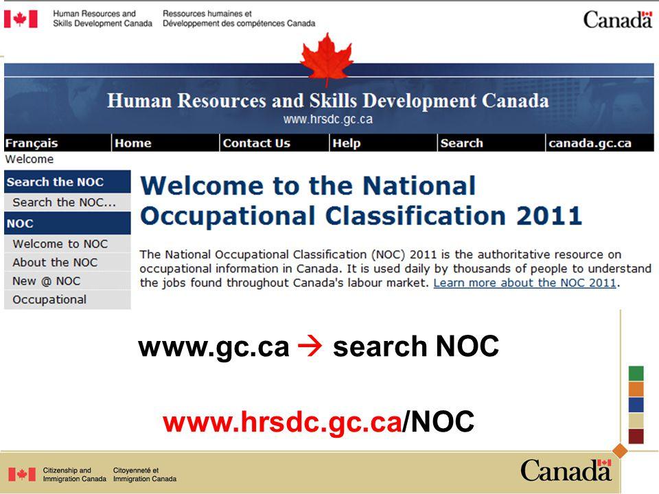 www.gc.ca  search NOC www.hrsdc.gc.ca/NOC