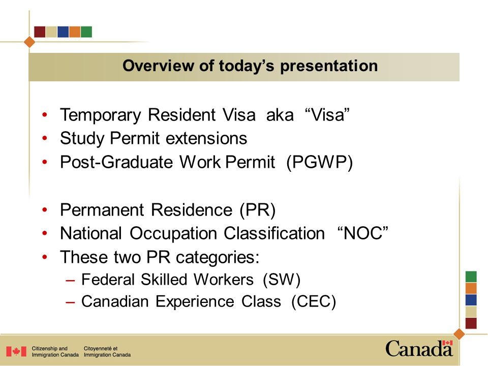 Temporary Resident Visa aka Visa Study Permit extensions Post-Graduate Work Permit (PGWP) Permanent Residence (PR) National Occupation Classification NOC These two PR categories: –Federal Skilled Workers (SW) –Canadian Experience Class (CEC) Overview of today's presentation