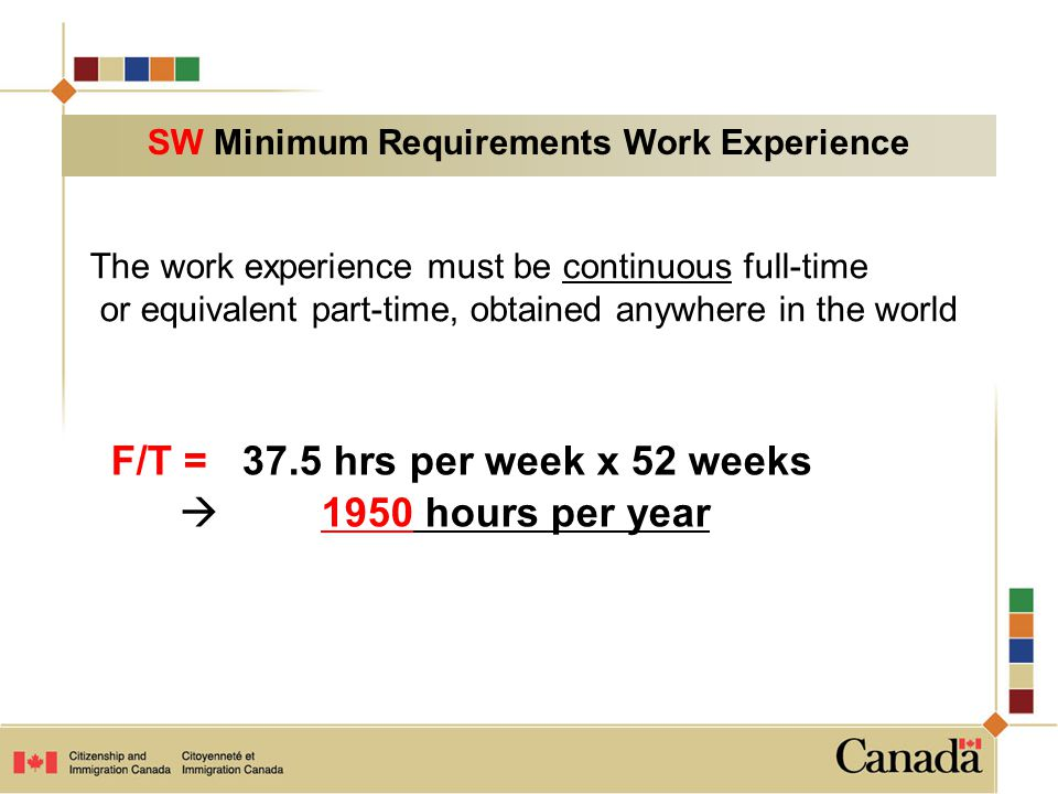 F/T = 37.5 hrs per week x 52 weeks  1950 hours per year The work experience must be continuous full-time or equivalent part-time, obtained anywhere in the world SW Minimum Requirements Work Experience