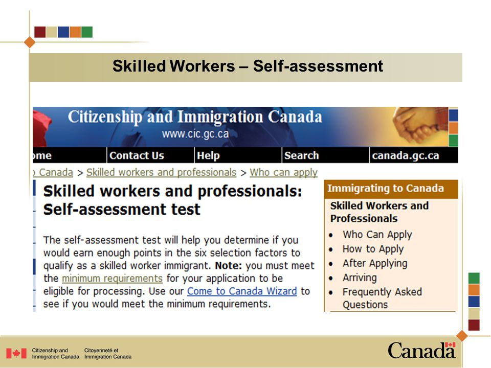 Skilled Workers – Self-assessment