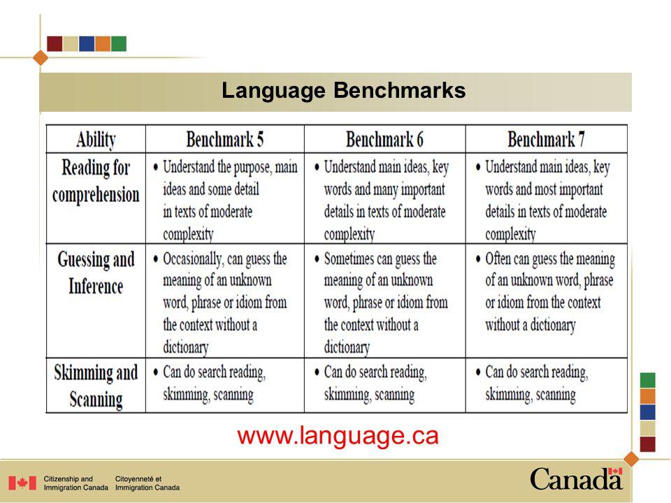 Language Benchmarks www.language.ca