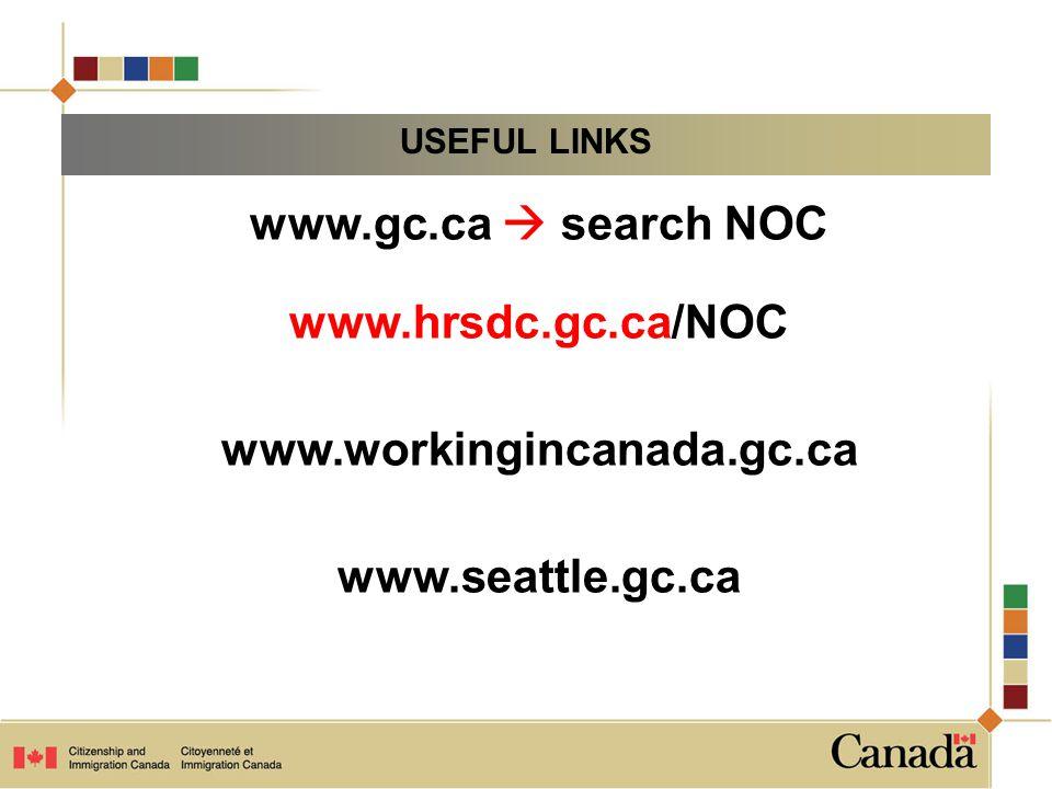 www.gc.ca  search NOC www.hrsdc.gc.ca/NOC www.workingincanada.gc.ca www.seattle.gc.ca USEFUL LINKS