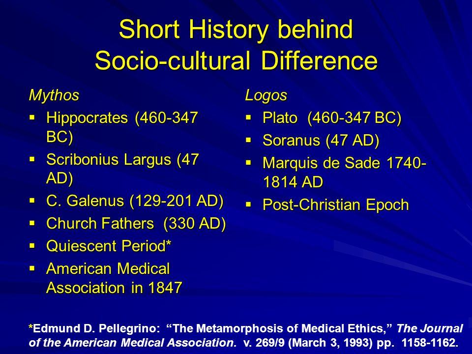 Short History behind Socio-cultural Difference Mythos  Hippocrates (460-347 BC)  Scribonius Largus (47 AD)  C. Galenus (129-201 AD)  Church Father
