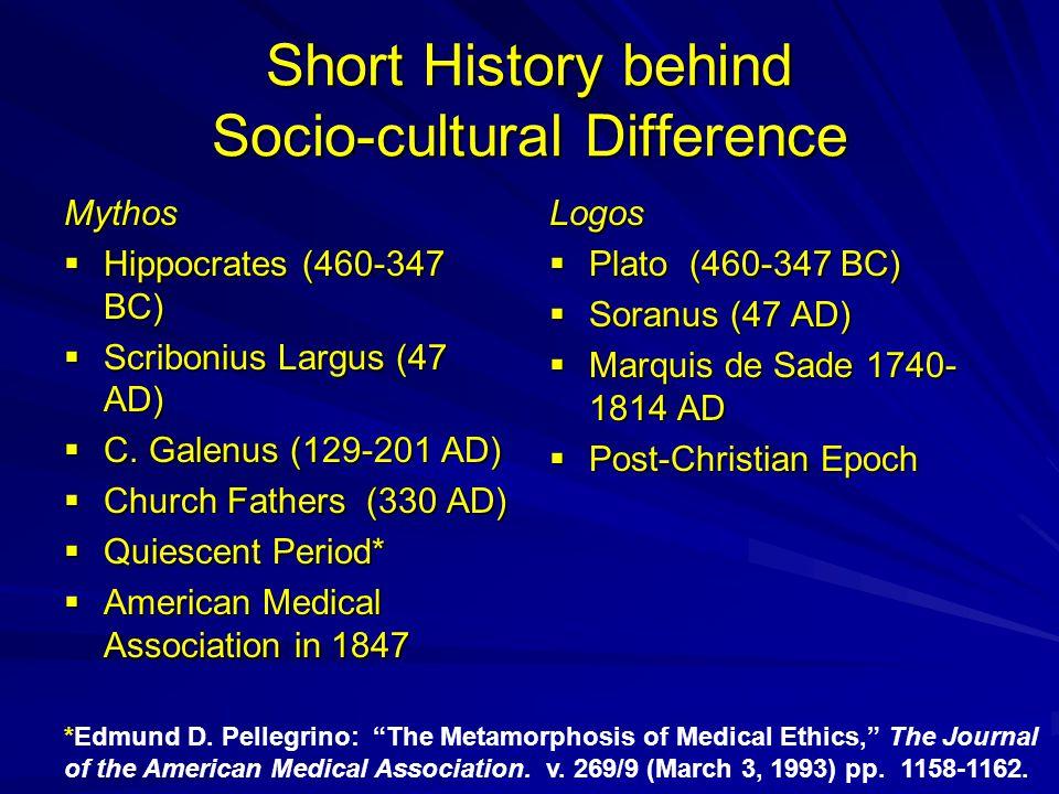 Short History behind Socio-cultural Difference Mythos  Hippocrates (460-347 BC)  Scribonius Largus (47 AD)  C.