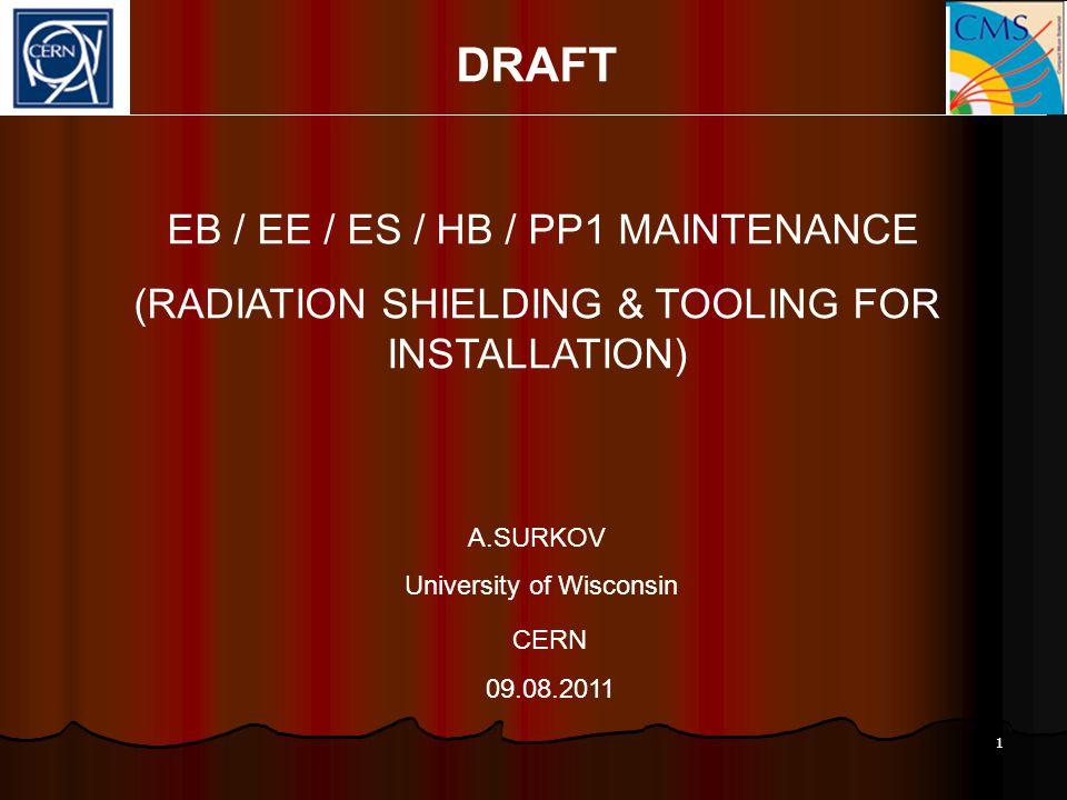 1 DRAFT EB / EE / ES / HB / PP1 MAINTENANCE (RADIATION SHIELDING & TOOLING FOR INSTALLATION) A.SURKOV University of Wisconsin CERN 09.08.2011