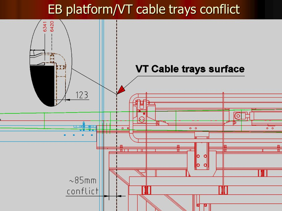 8 EB platform/VT cable trays conflict