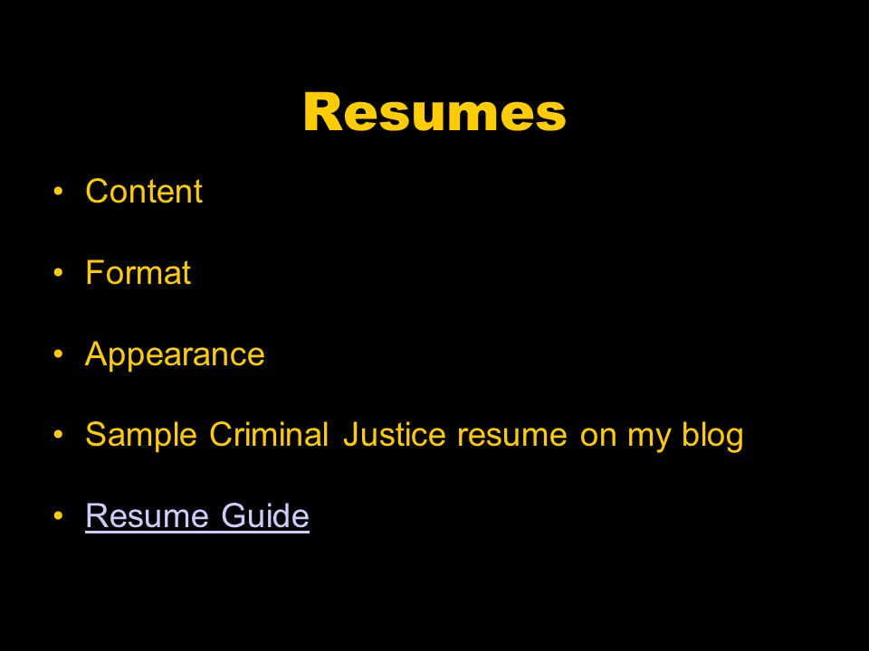 Resumes Content Format Appearance Sample Criminal Justice resume on my blog Resume Guide