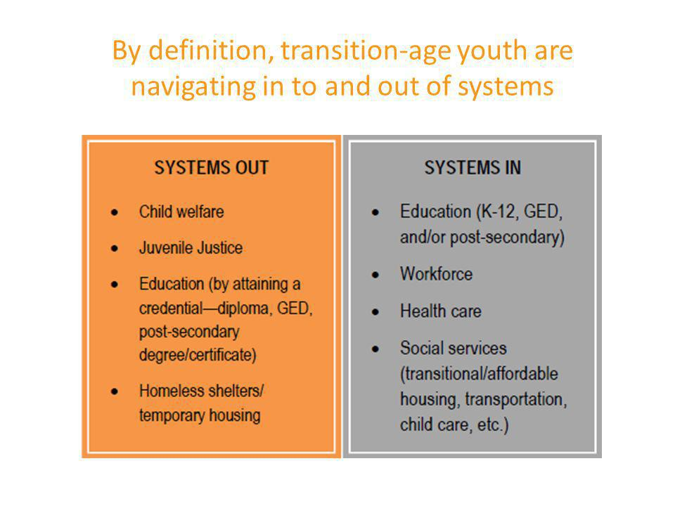 By definition, transition-age youth are navigating in to and out of systems
