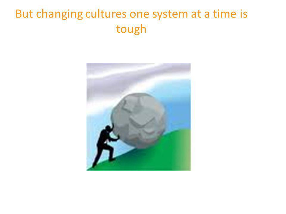 But changing cultures one system at a time is tough