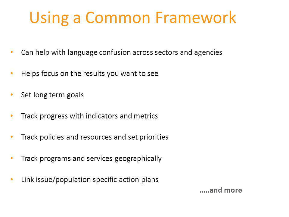 Using a Common Framework Can help with language confusion across sectors and agencies Helps focus on the results you want to see Set long term goals T