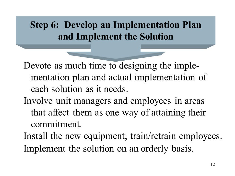 13 Step 7: Conduct a Follow-up of the Solution Determine how well the solution is working a few months after its implementation by comparing actual performance against anticipated performance.