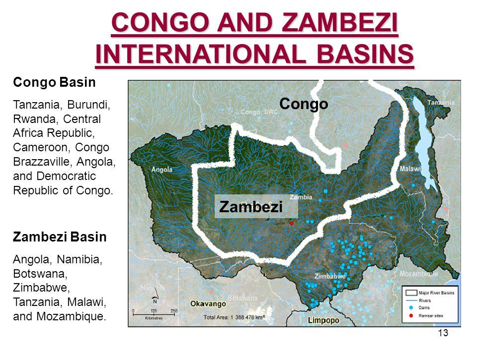 13 Congo Basin Tanzania, Burundi, Rwanda, Central Africa Republic, Cameroon, Congo Brazzaville, Angola, and Democratic Republic of Congo.
