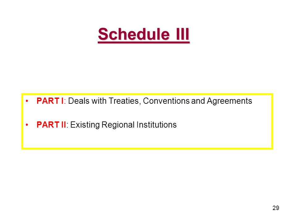 29 PART I: Deals with Treaties, Conventions and Agreements PART II: Existing Regional Institutions Schedule III