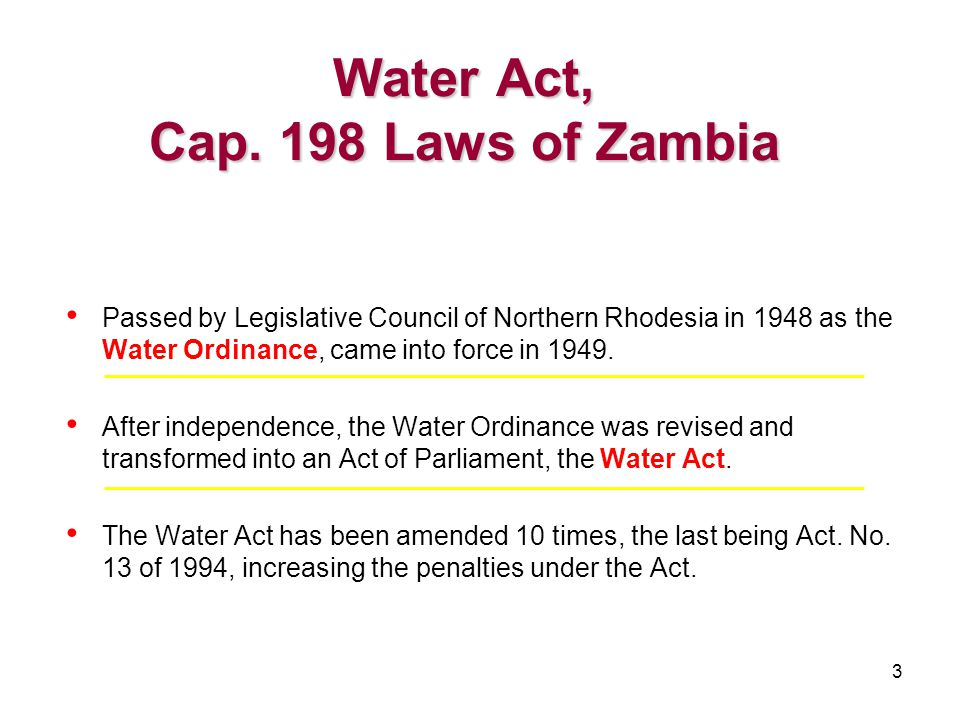 24 Part XV provides for: Water Development TrustThe establishment of a Water Development Trust; The Fund to be used for conservation and management of water resources and development projects benefiting the community with a strong pro-poor focus; The Fund to be autonomous and independently managed under a Trust Deed; Moneys of the Fund to come from donations, grants and Parliament; The Trustees of the Fund to submit a report to the Minister annually on its activities.