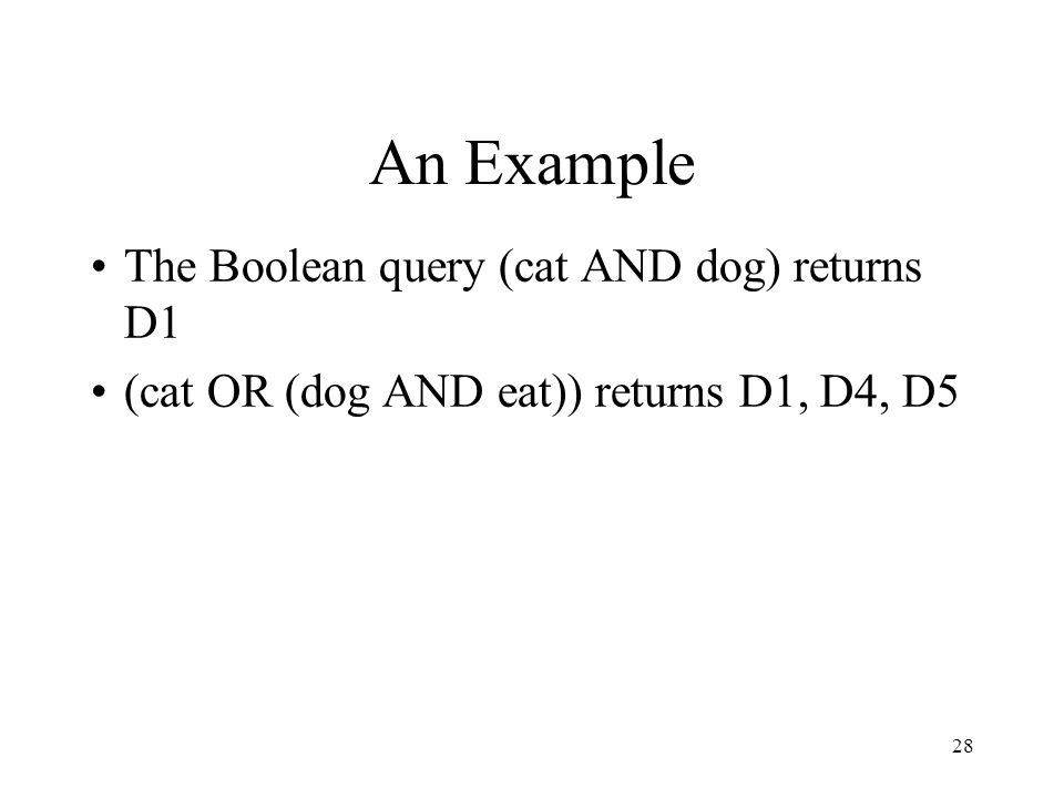 28 An Example The Boolean query (cat AND dog) returns D1 (cat OR (dog AND eat)) returns D1, D4, D5