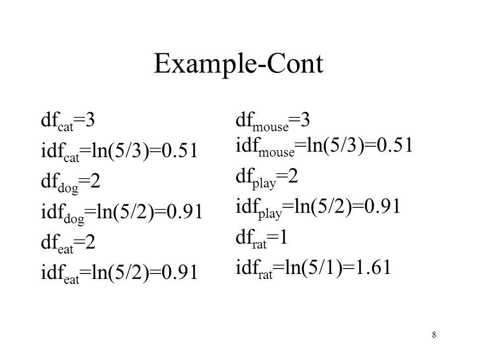 8 Example-Cont df cat =3 idf cat =ln(5/3)=0.51 df dog =2 idf dog =ln(5/2)=0.91 df eat =2 idf eat =ln(5/2)=0.91 df mouse =3 idf mouse =ln(5/3)=0.51 df