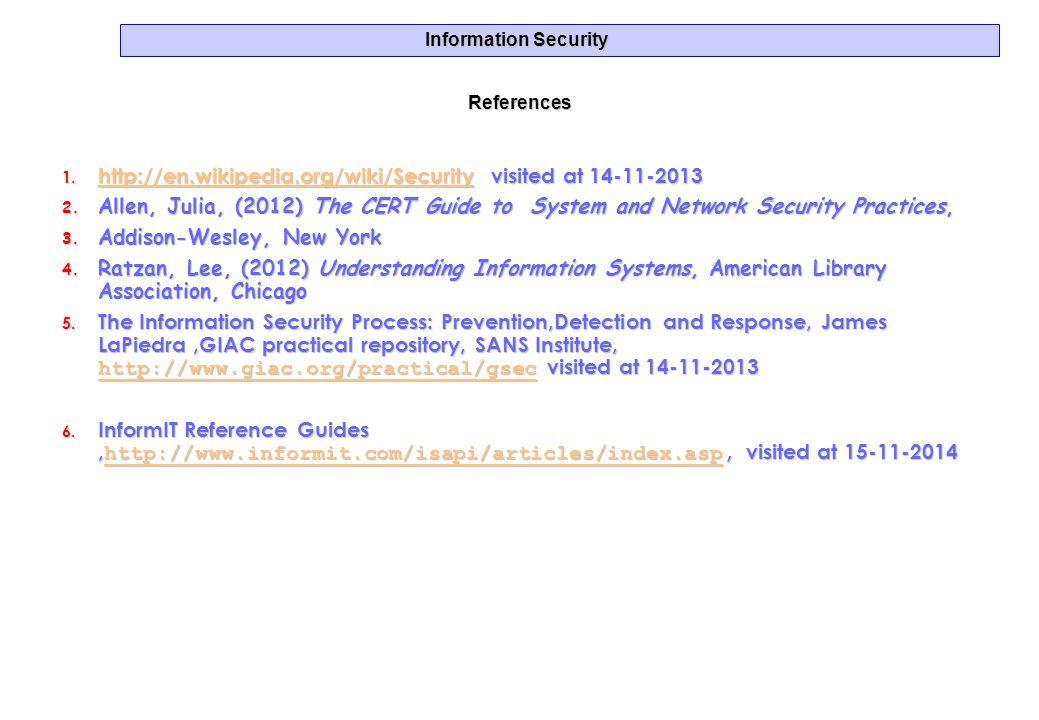 Information Security References 1. http://en.wikipedia.org/wiki/Security visited at 14-11-2013 http://en.wikipedia.org/wiki/Security 2. Allen, Julia,