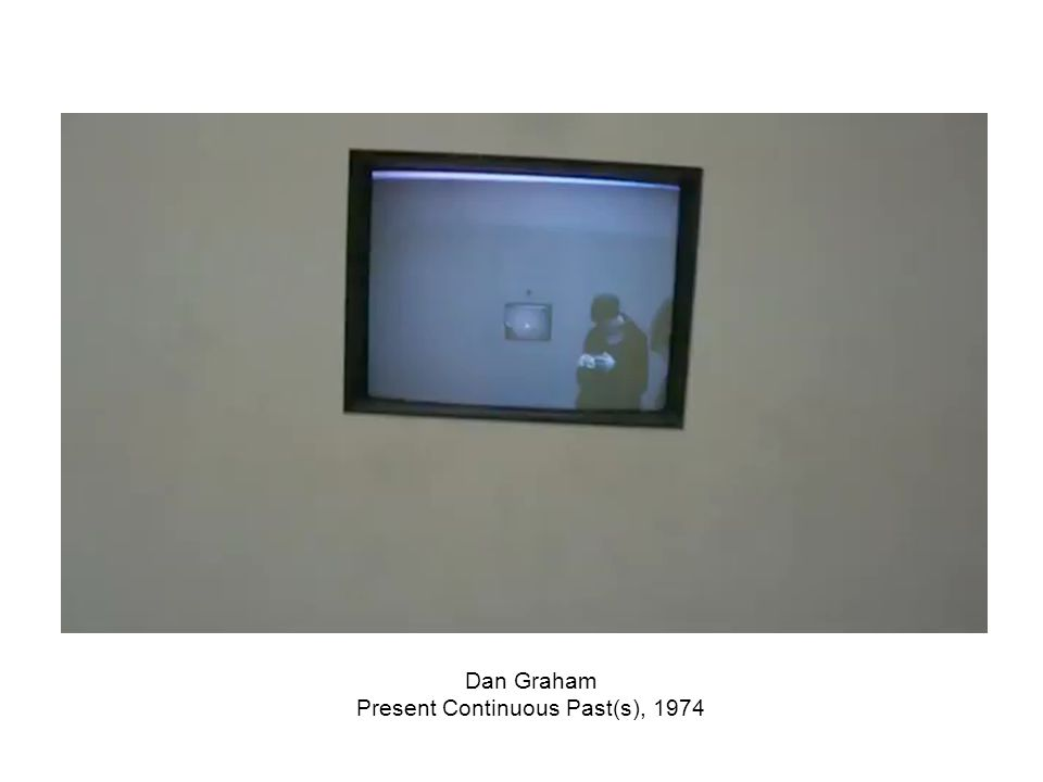 Dan Graham, Present Continuous Past(s), 1974 The mirrors reflect present time. The video camera tapes what is immediately in front of it and the entir