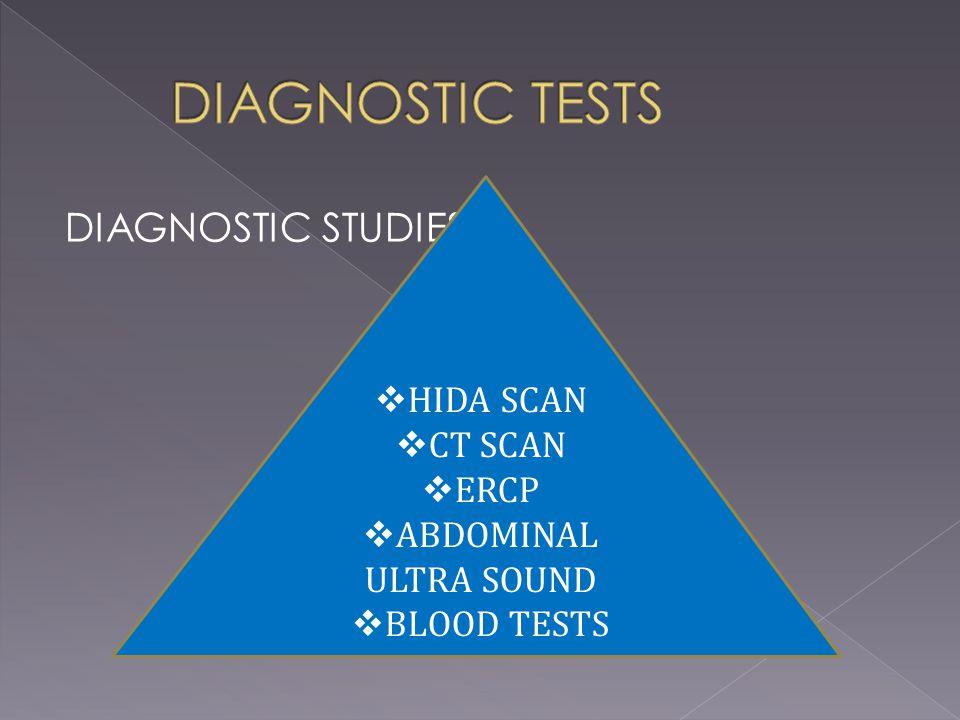 DIAGNOSTIC STUDIES  HIDA SCAN  CT SCAN  ERCP  ABDOMINAL ULTRA SOUND  BLOOD TESTS