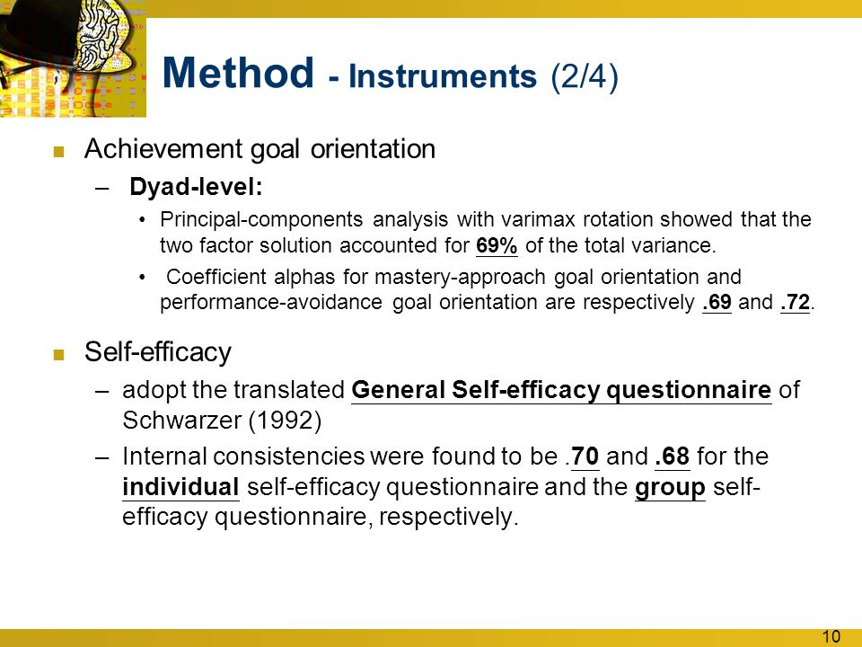 10 Method - Instruments (2/4) Achievement goal orientation – Dyad-level: Principal-components analysis with varimax rotation showed that the two factor solution accounted for 69% of the total variance.