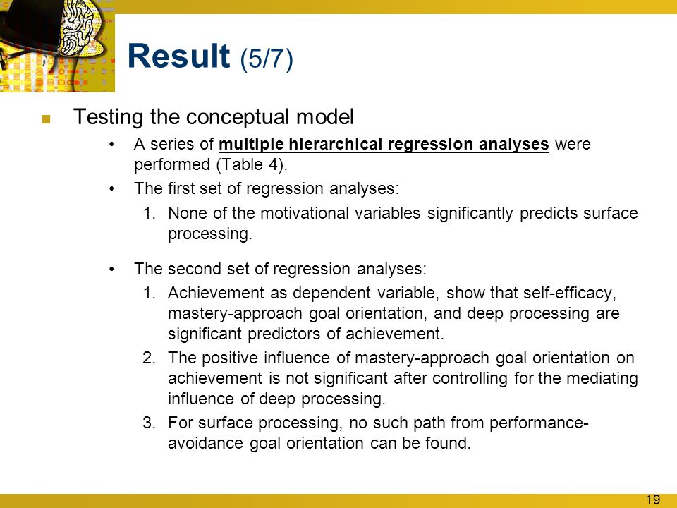 19 Result (5/7) Testing the conceptual model A series of multiple hierarchical regression analyses were performed (Table 4).