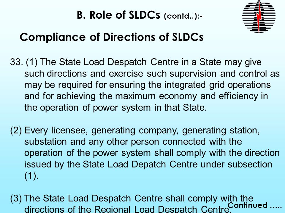 Continued ….. Compliance of Directions of SLDCs 33.