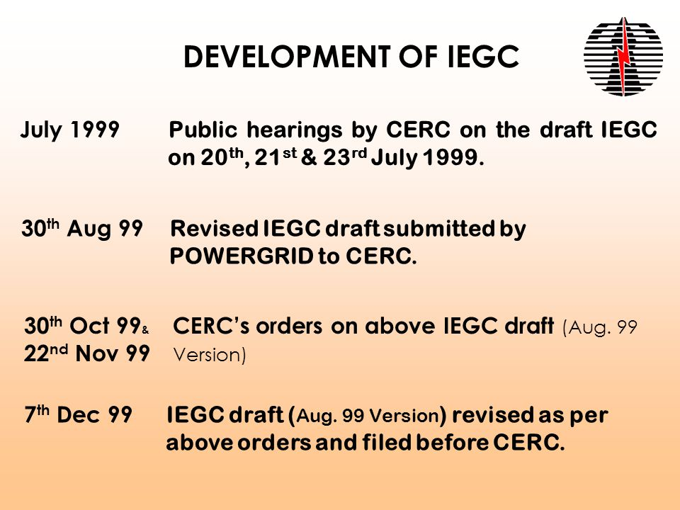 DEVELOPMENT OF IEGC July 1999 Public hearings by CERC on the draft IEGC on 20 th, 21 st & 23 rd July 1999.